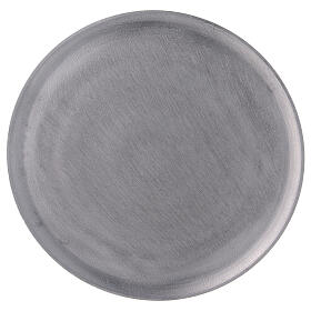 Round candle holder plate in satin finish aluminium d. 7 1/2 in s2
