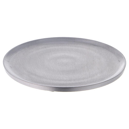 Round candle holder plate in satin finish aluminium d. 7 1/2 in 1