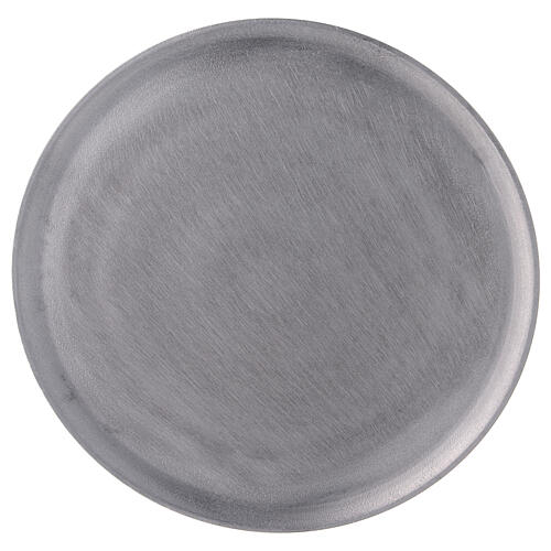 Round candle holder plate in satin finish aluminium d. 7 1/2 in 2
