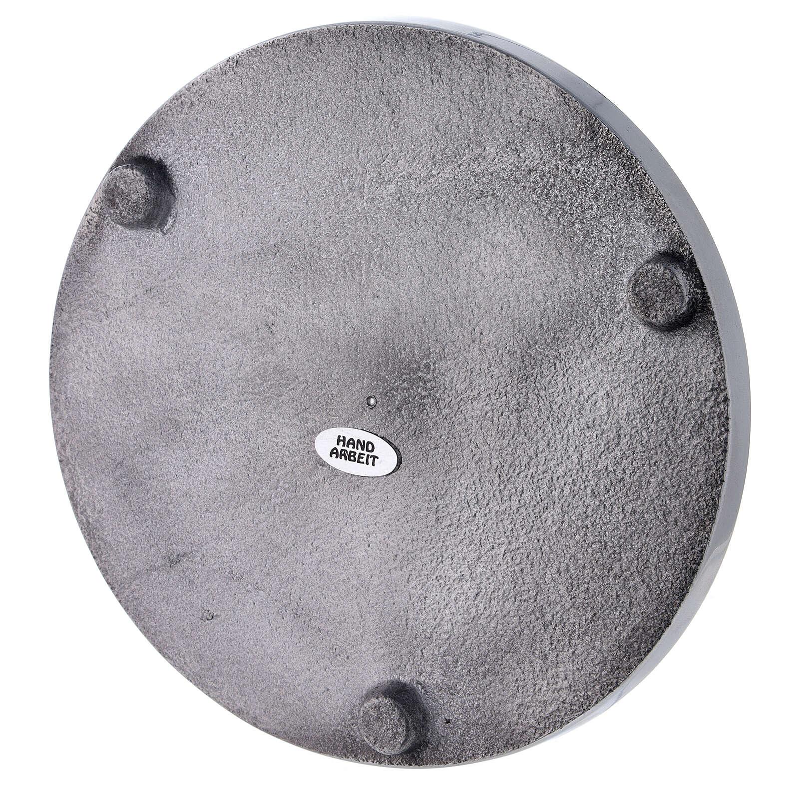 Plato portavela aluminio lúcido 17 cm diámetro 3