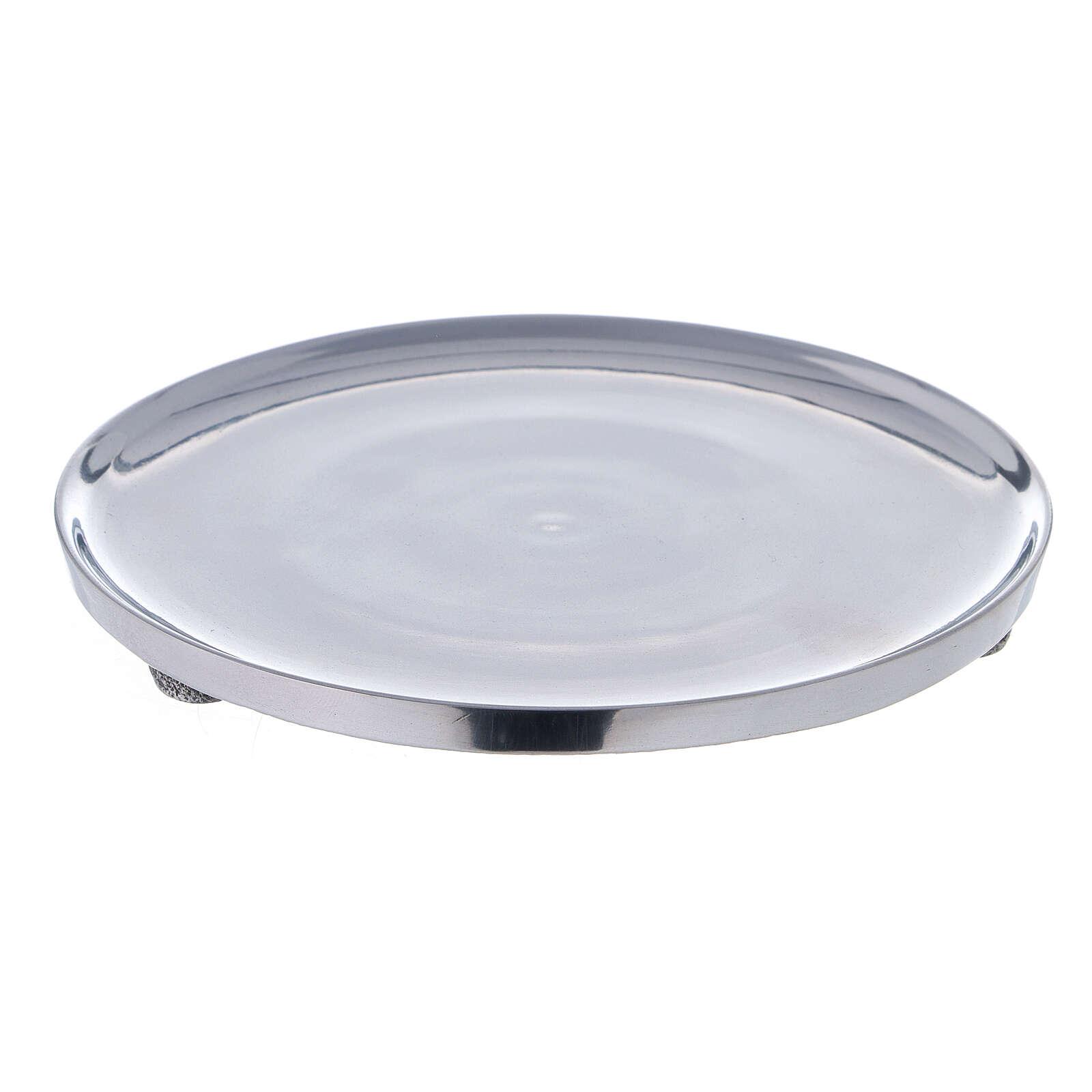 Piatto portacandela alluminio lucido 17 cm diametro 3