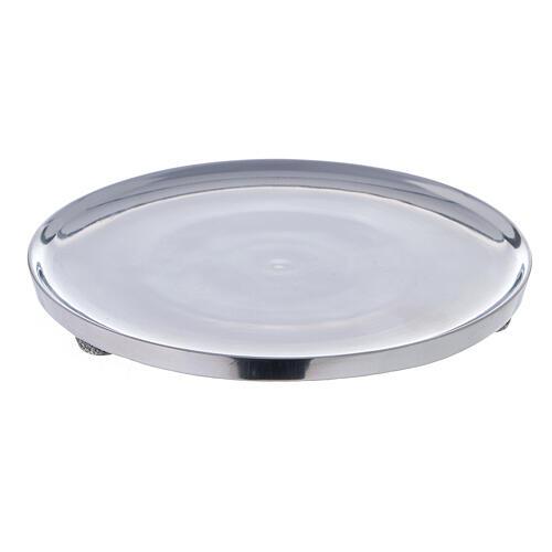 Piatto portacandela alluminio lucido 17 cm diametro 1