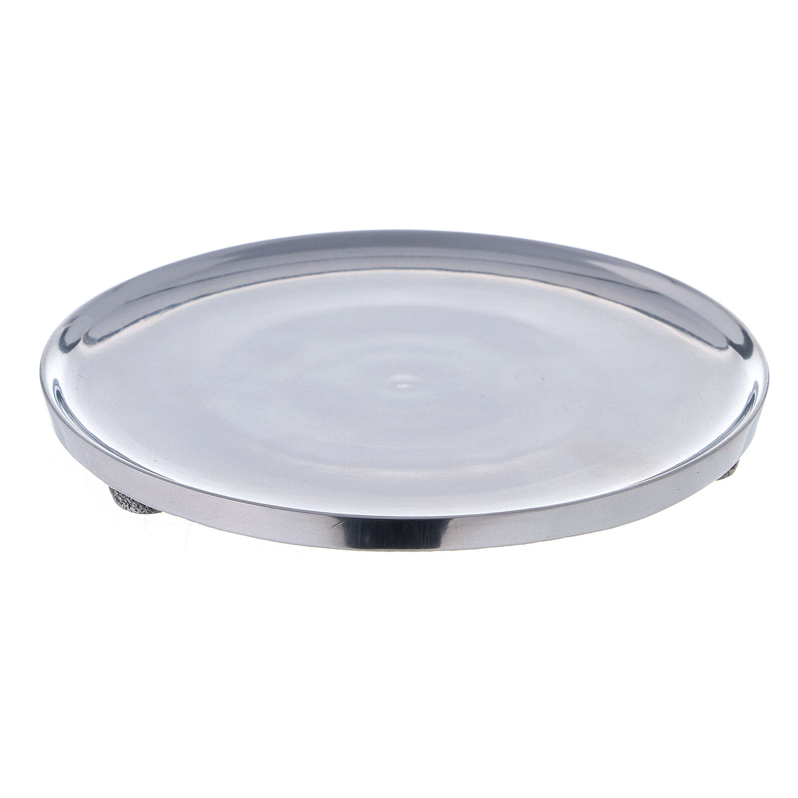 Polished aluminium candle holder plate diameter 6 3/4 in 3