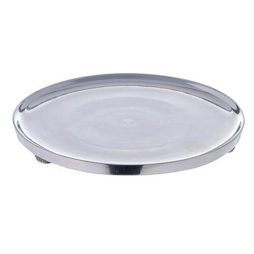 Polished aluminium candle holder plate diameter 6 3/4 in 1