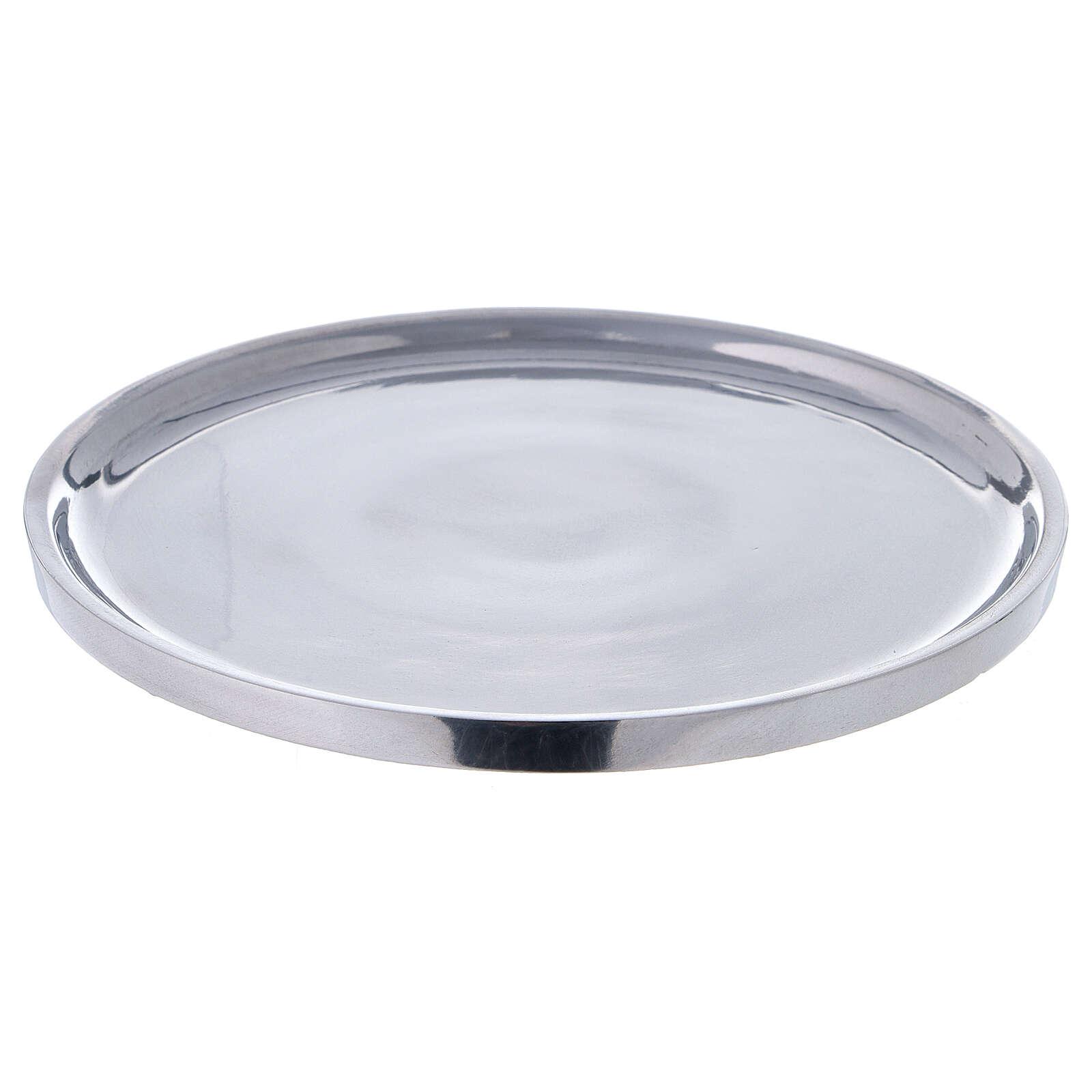 Piatto per candela alluminio lucido 19 cm 3