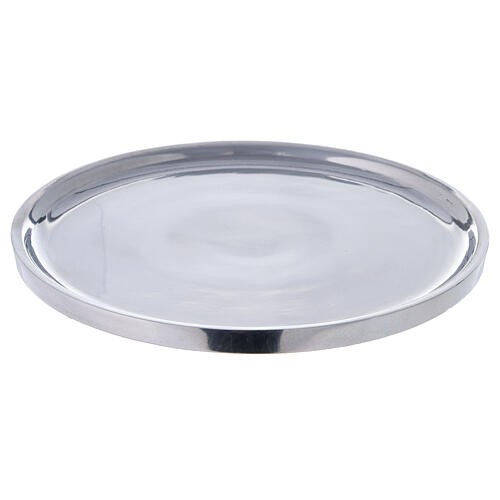 Polished aluminium plate for candles 7 1/2 in 1