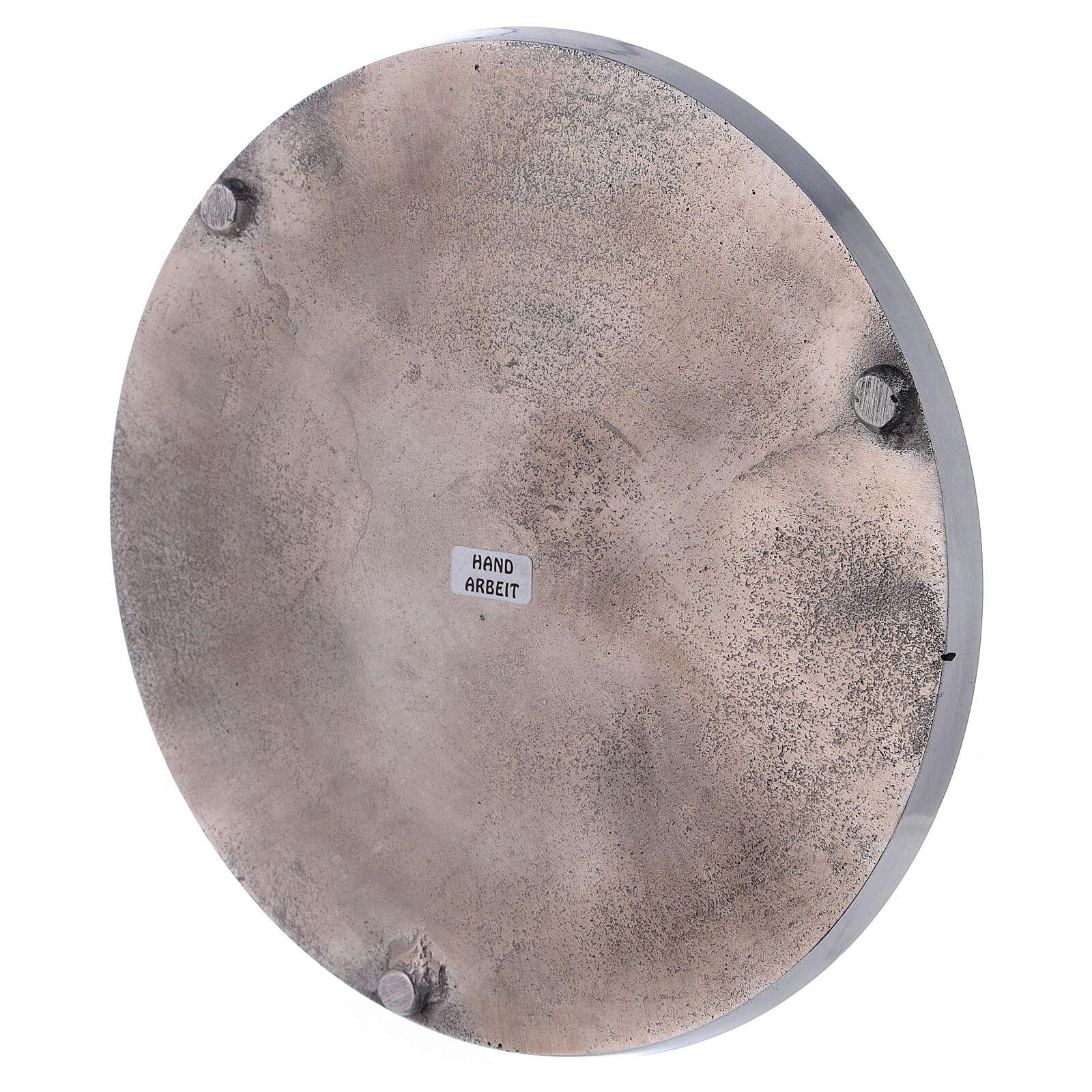 Piatto portacandela 21 cm alluminio bordi rialzati 3