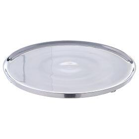 Piatto portacandela 21 cm alluminio bordi rialzati s1