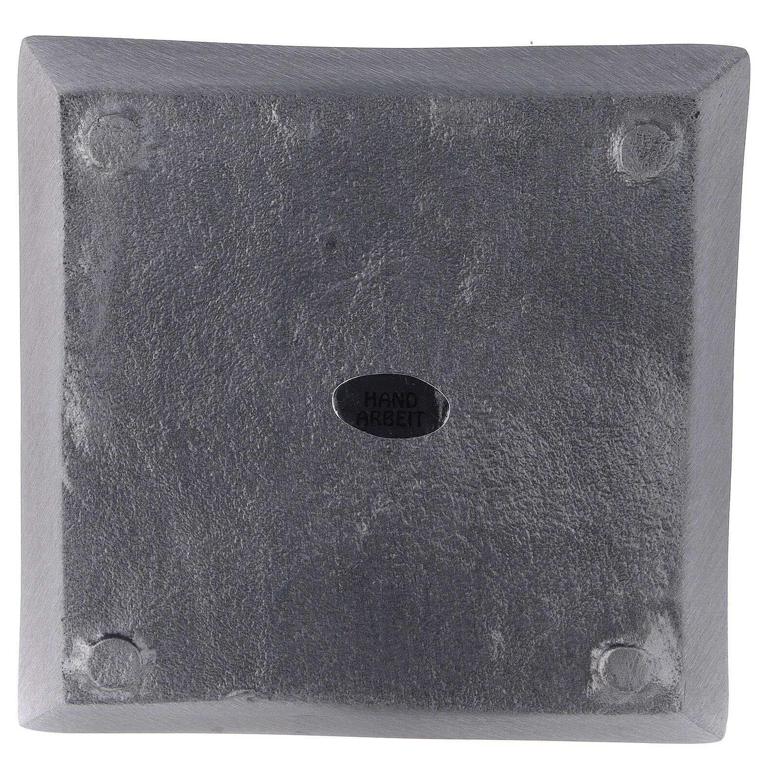 Piatto portacandela quadrato alluminio satinato 11x11 cm 3