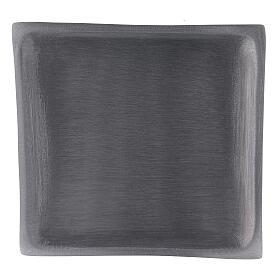 Piatto portacandela quadrato alluminio satinato 11x11 cm s2