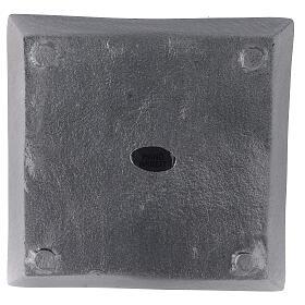 Piatto portacandela quadrato alluminio satinato 11x11 cm s3