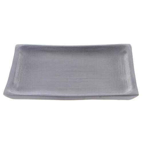 Piatto portacandela quadrato alluminio satinato 11x11 cm 1