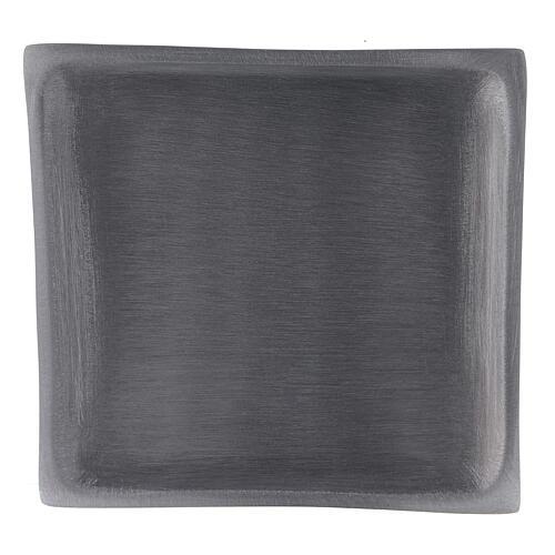 Piatto portacandela quadrato alluminio satinato 11x11 cm 2