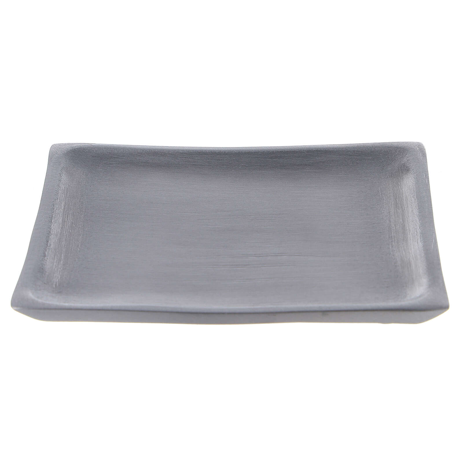 Square candle holder plate in satin finish aluminium 4 1/4x4 1/4 in 3