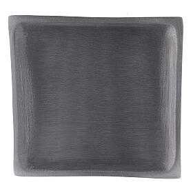 Square candle holder plate in satin finish aluminium 4 1/4x4 1/4 in s2