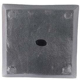 Square candle holder plate in satin finish aluminium 4 1/4x4 1/4 in s3