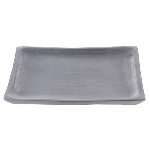 Square candle holder plate in satin finish aluminium 4 1/4x4 1/4 in 1