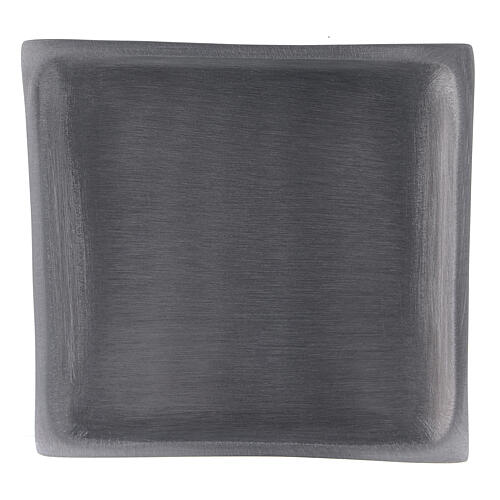 Square candle holder plate in satin finish aluminium 4 1/4x4 1/4 in 2