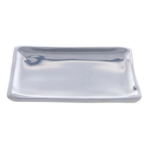 Square plate for candles 4 1/4x4 1/4 in polished finish 1