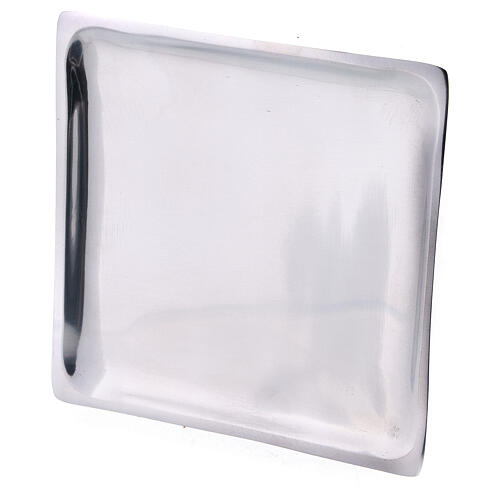 Square plate for candles 4 1/4x4 1/4 in polished finish 2