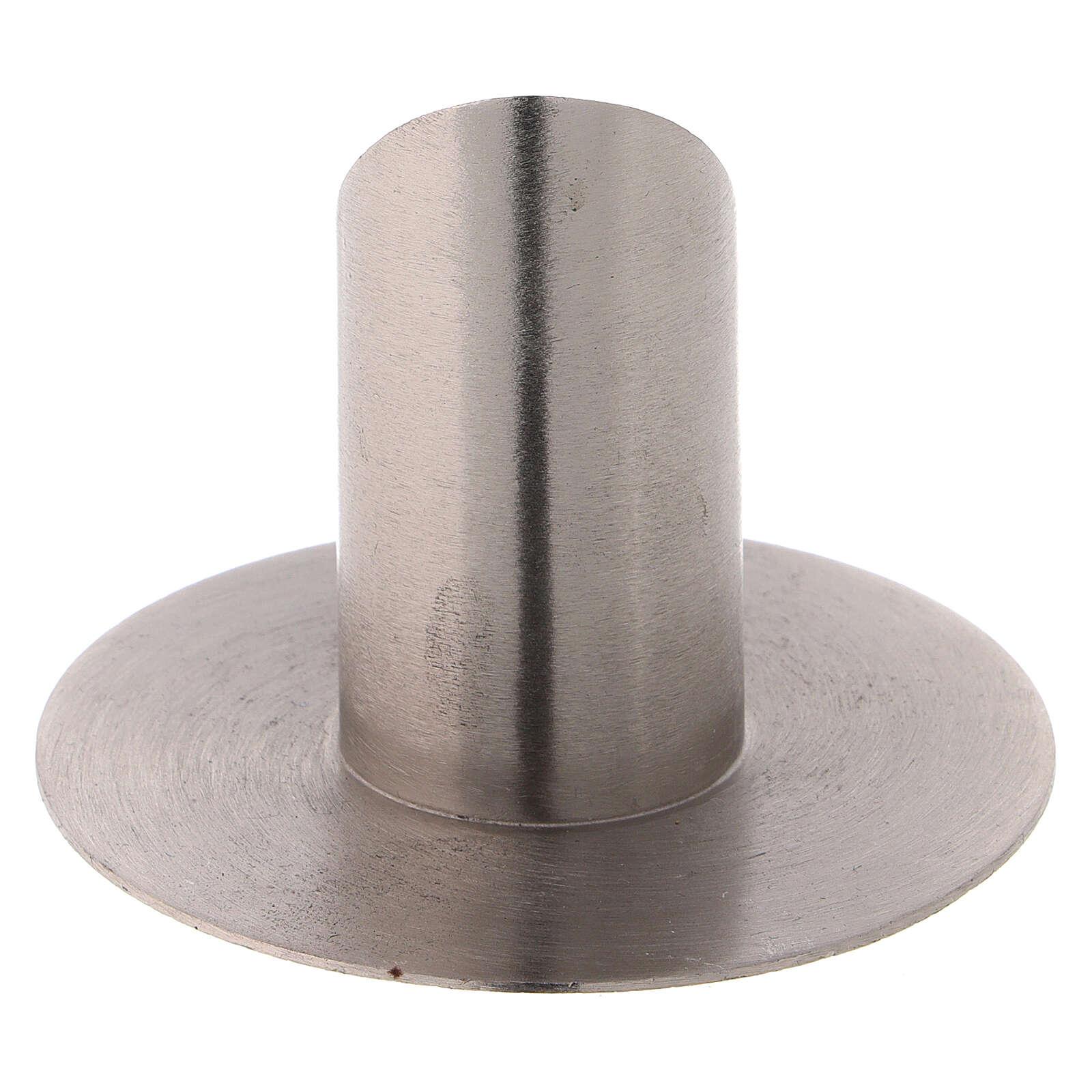 Porte-cierge laiton nickelé satiné 3 cm oblique 4