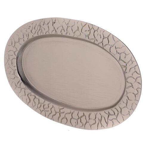 Assiette bougie ovale bord gravé laiton nickelé 14x8 cm 2