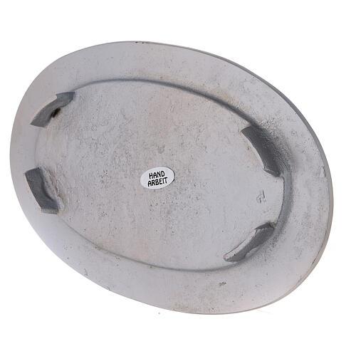Assiette bougie ovale bord gravé laiton nickelé 14x8 cm 3