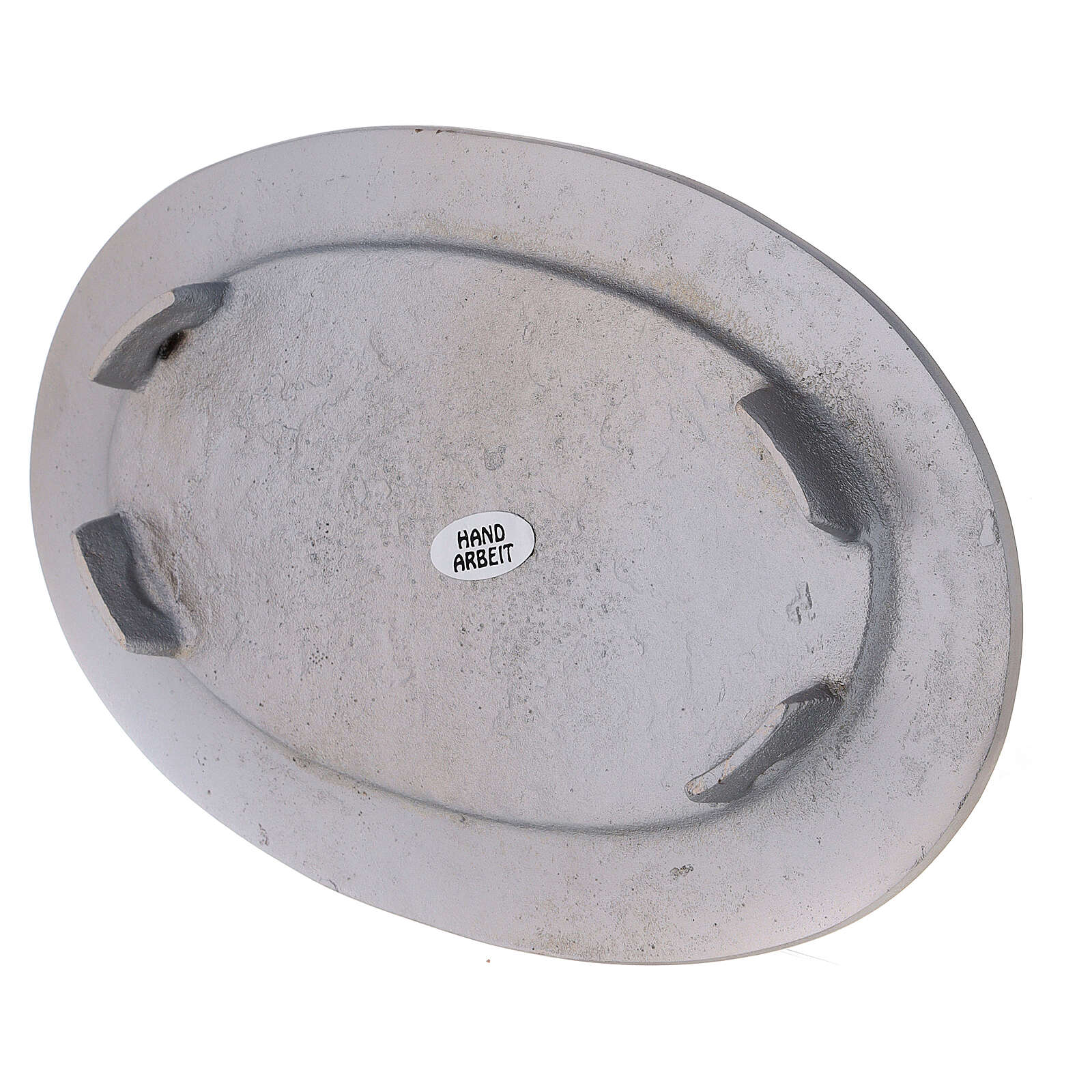 Piatto portacandela ovale bordo inciso ottone nichelato 14x8 cm 3
