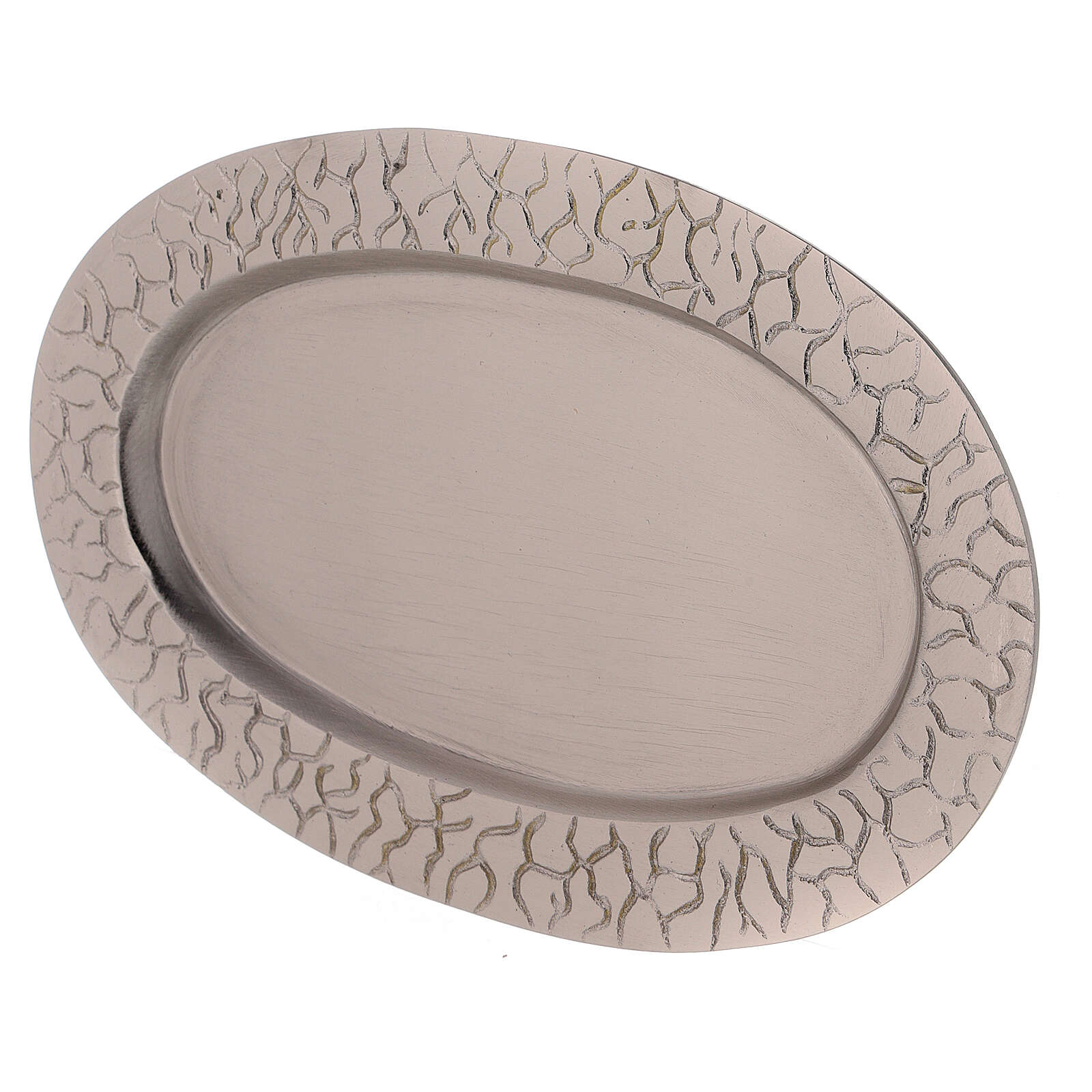 Oval candle holder plate with engraved edge nickel-plated brass 5 1/2x3 in 3