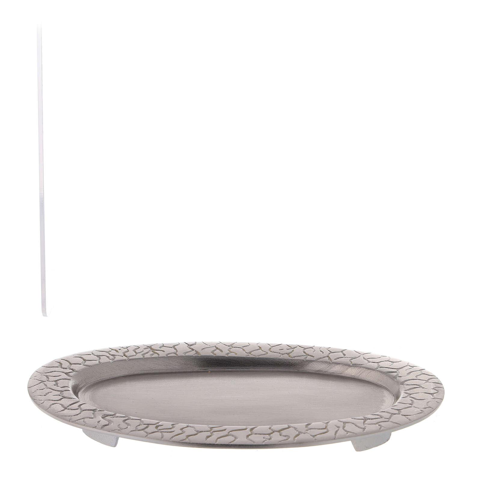 Assiette pour bougie ovale décoration racines 17x7 cm 3