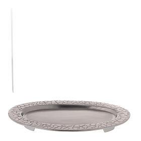 Assiette pour bougie ovale décoration racines 17x7 cm s4
