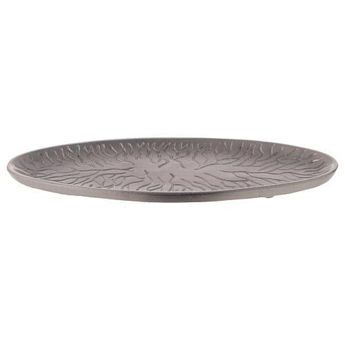 Assiette pour bougie ovale décoration racines 17x7 cm 1