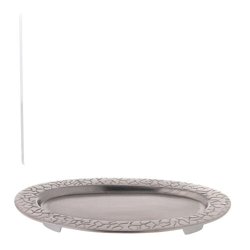 Piatto portacandela ovale decoro radici 17x7 cm 4