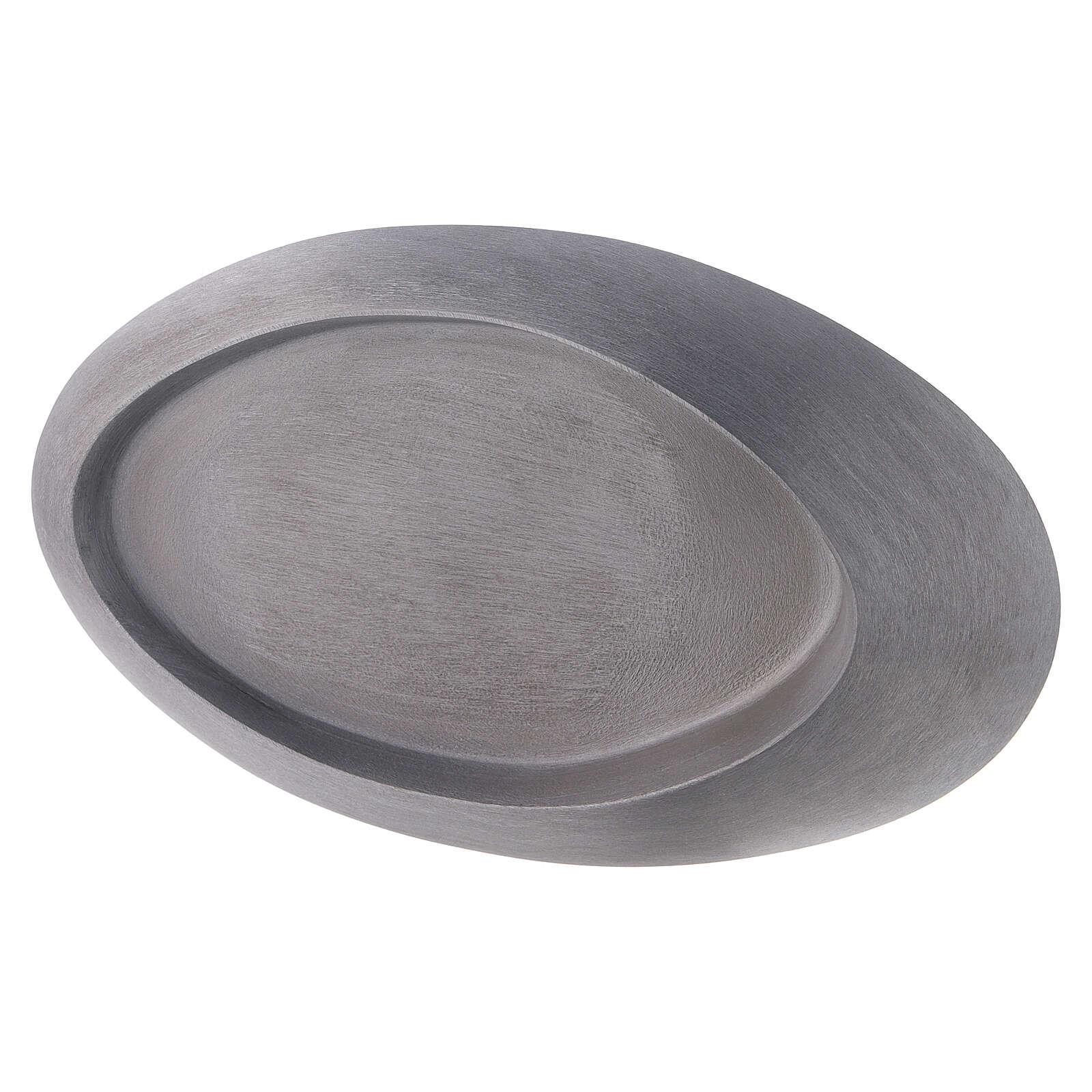 Portacandela rialzato ovale alluminio lucido 13x8 cm 3