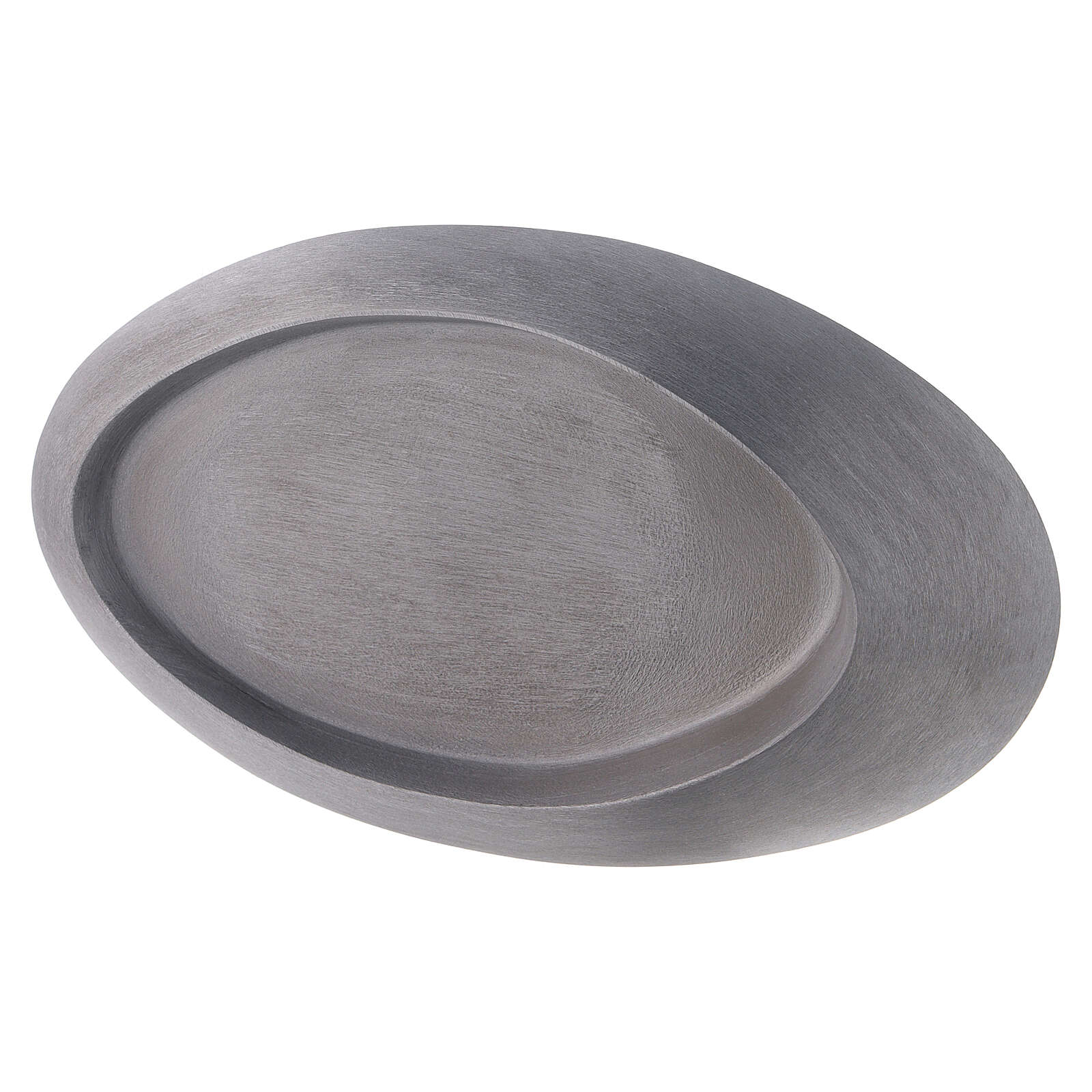 Oval raised candle holder plate in polished aluminium 5x3 in 3