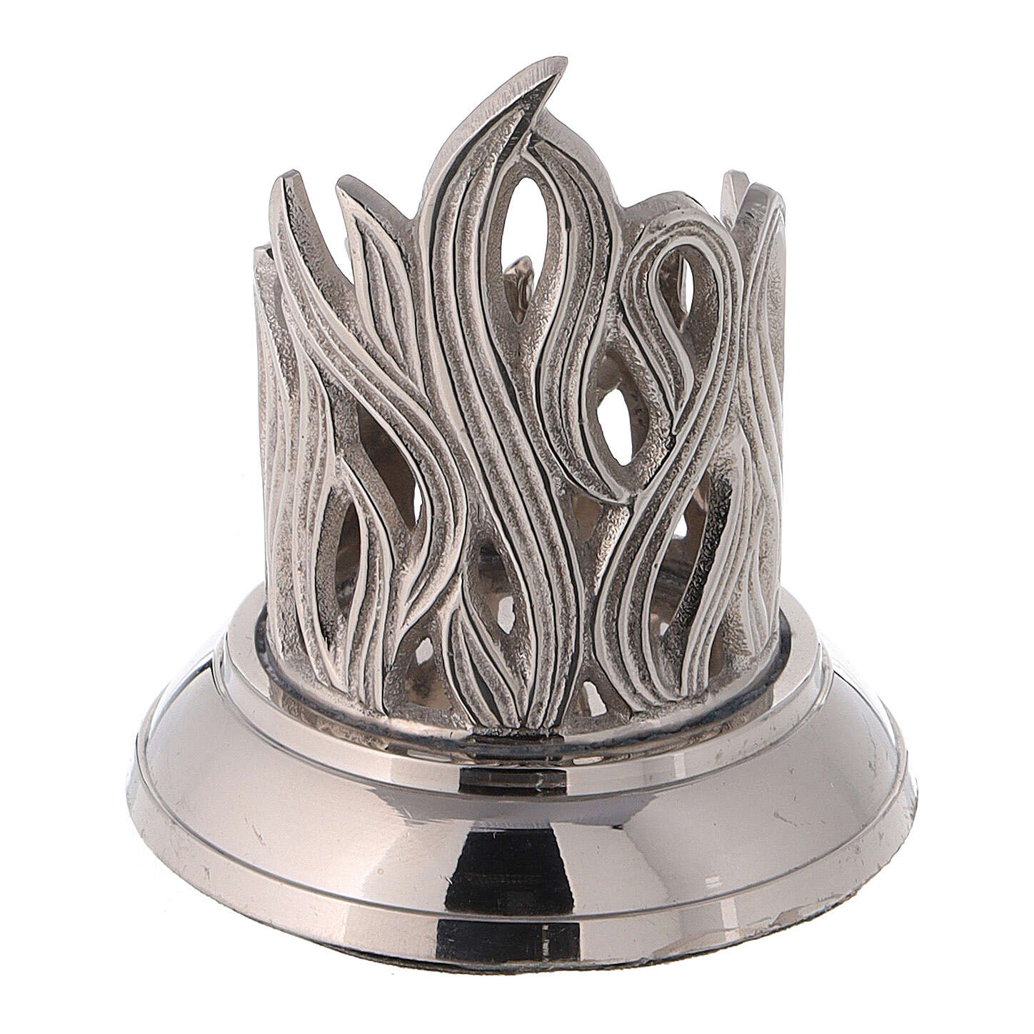 Candlestick with engraved flames nickel-plated brass 1 1/2 in 4