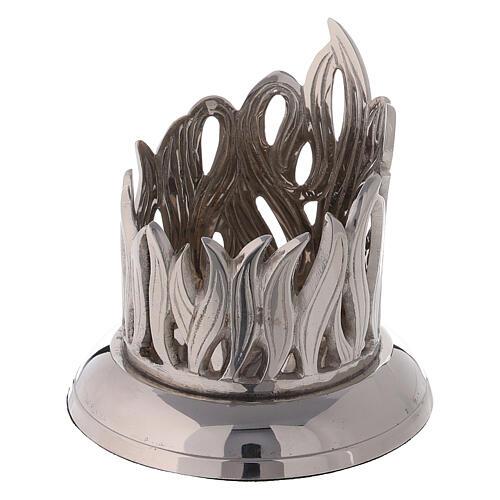 Bougeoir flamme laiton nickelé diamètre 6 cm 2