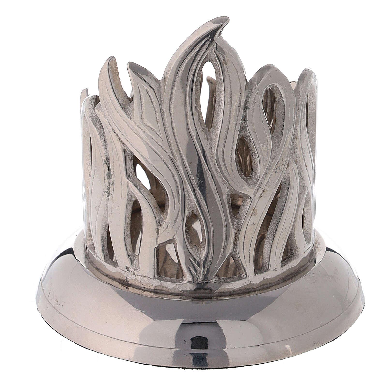 Portacandela fiamme ottone nichelato diametro 6 cm 4