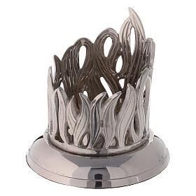 Portacandela fiamme ottone nichelato diametro 6 cm s2