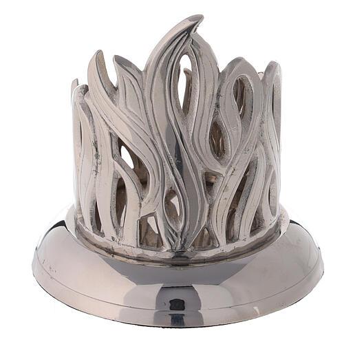 Portacandela fiamme ottone nichelato diametro 6 cm 3
