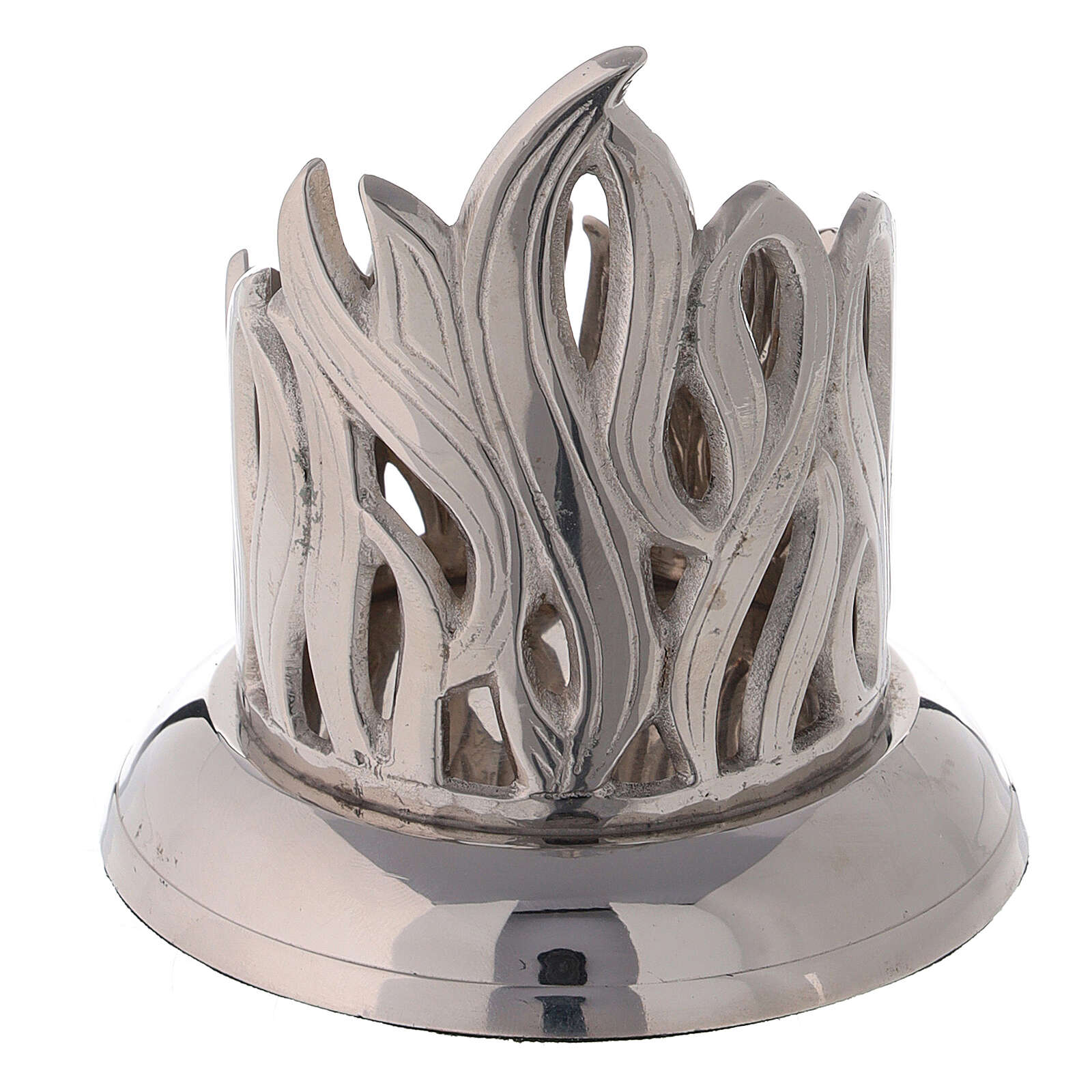 Flame pattern candlestick nickel-plated brass diameter 2 1/2 in 4