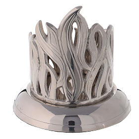 Flame pattern candlestick nickel-plated brass diameter 2 1/2 in s3