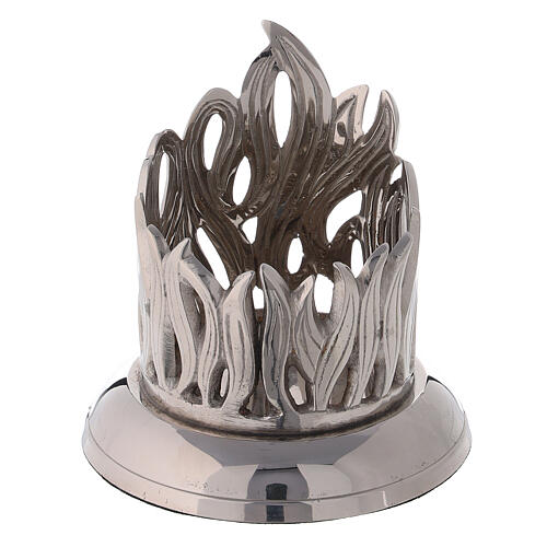 Flame pattern candlestick nickel-plated brass diameter 2 1/2 in 1
