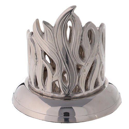 Flame pattern candlestick nickel-plated brass diameter 2 1/2 in 3