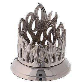 Base pour bougie flammes diamètre 8 cm laiton nickelé s1