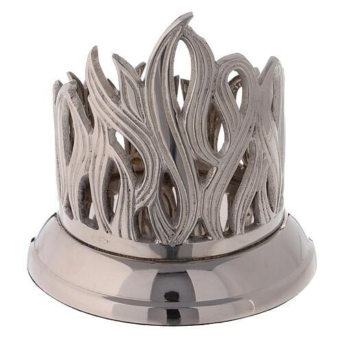 Base pour bougie flammes diamètre 8 cm laiton nickelé 3