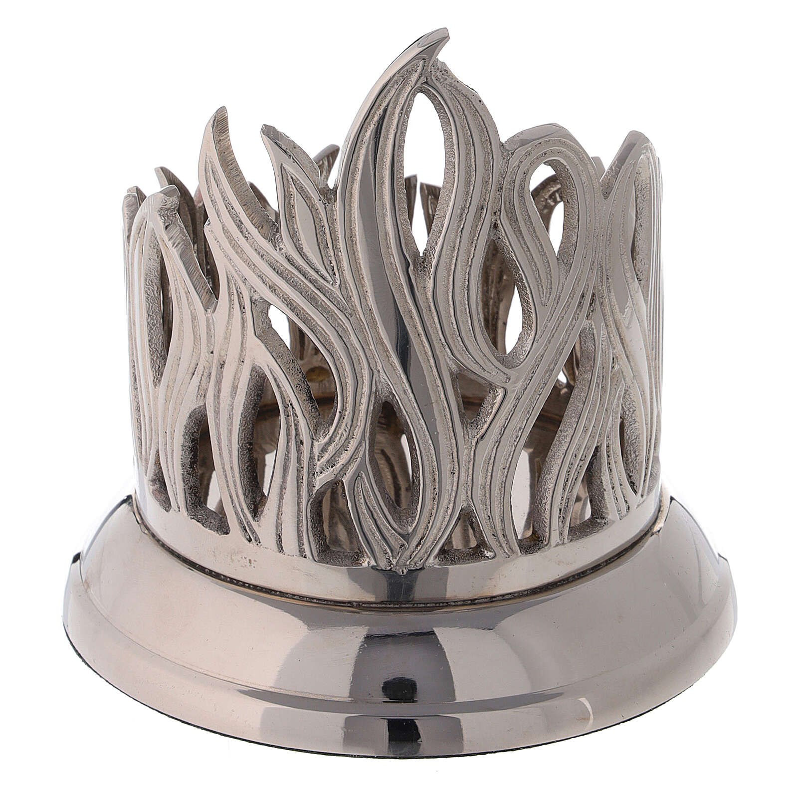 Flame pattern candle holder diameter 3 in nickel-plated brass 4