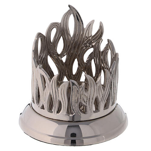 Flame pattern candle holder diameter 3 in nickel-plated brass 1