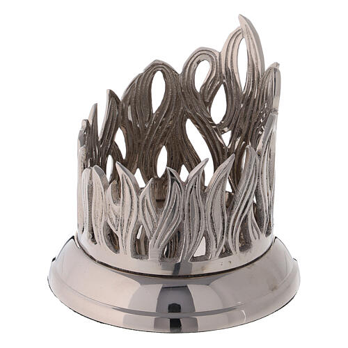 Flame pattern candle holder diameter 3 in nickel-plated brass 2