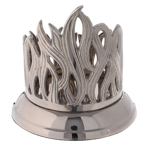 Flame pattern candle holder diameter 3 in nickel-plated brass 3